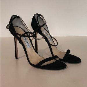 Jimmy Choo black suede heeled sandals 39.5